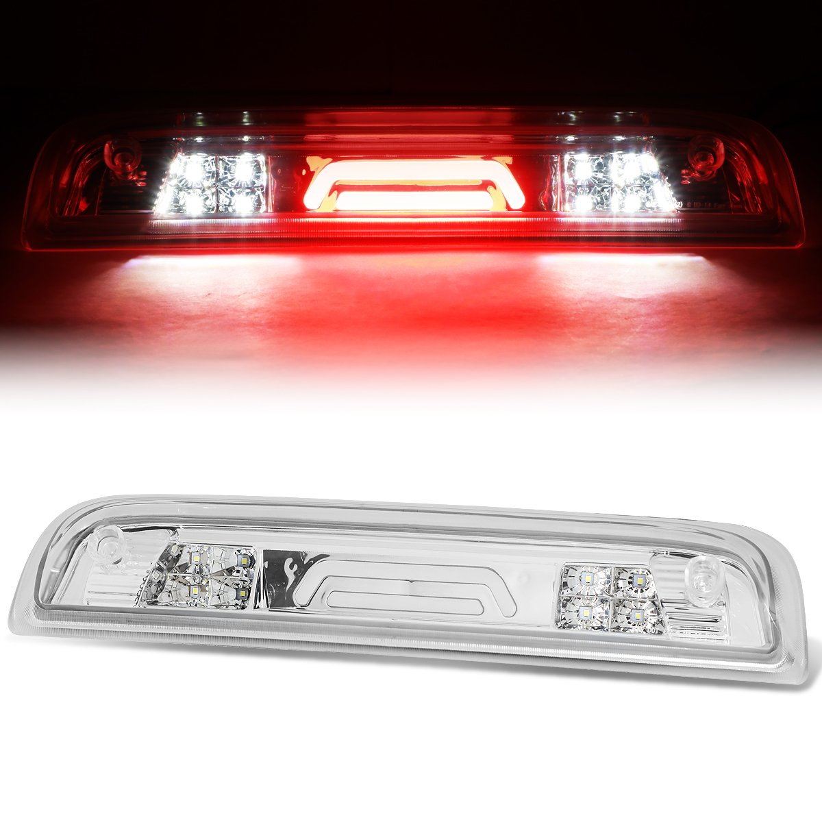 For 14-18 Chevy Silverado/GMC Sierra High Mount 3D LED 3rd Third Brake Light/Cargo Lamp (Black Housing Clear Lens) Auto Dynasty