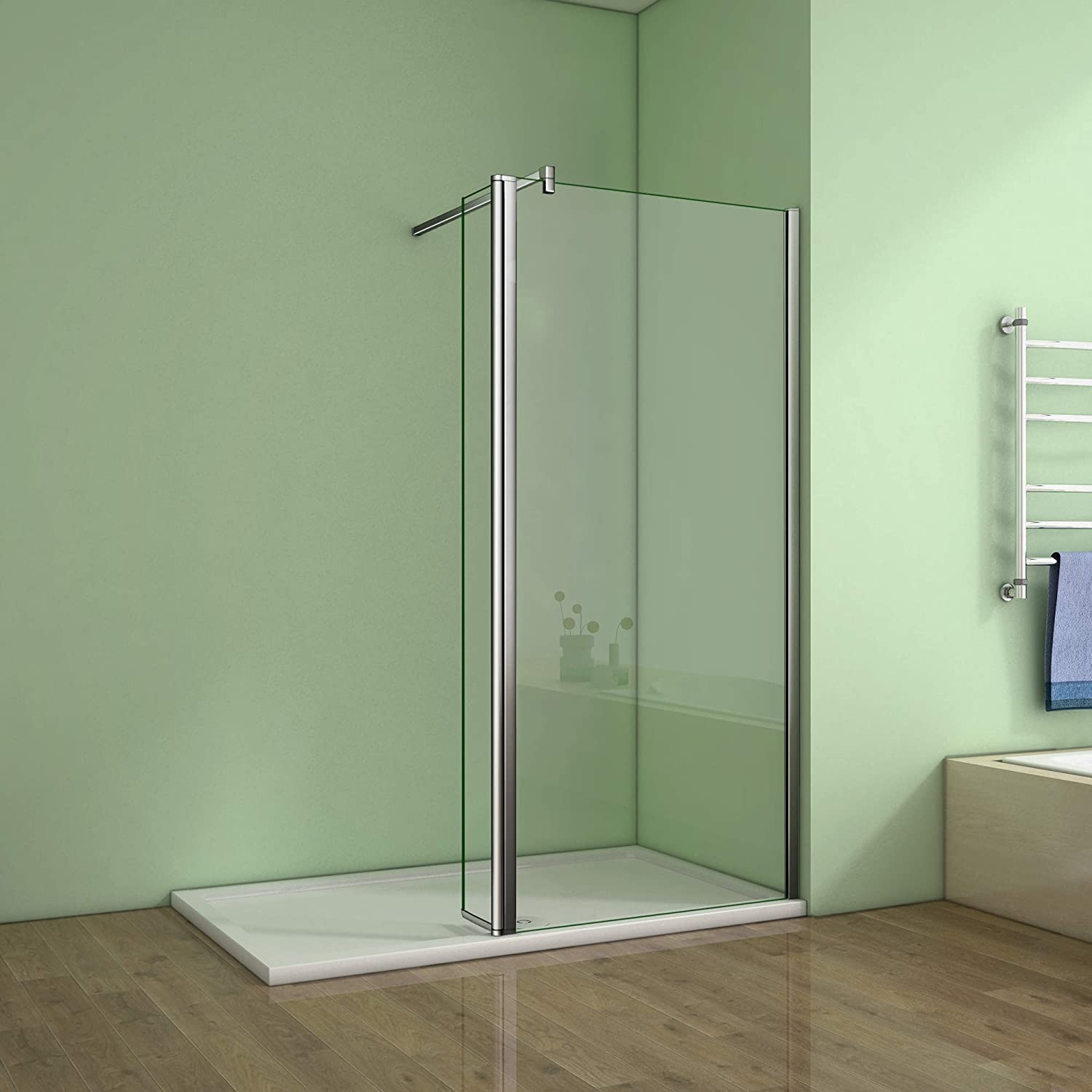 700mm Walk in Shower Enclosure Wet Room Screen Panel EasyClean Glass with 300mm Flipper Panel Perfect