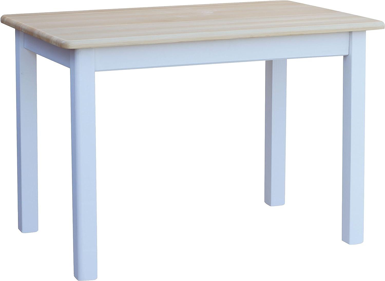 COMA Cocina Mesa 120 x 70 cm comedor mesa (Madera de pino blanco ...