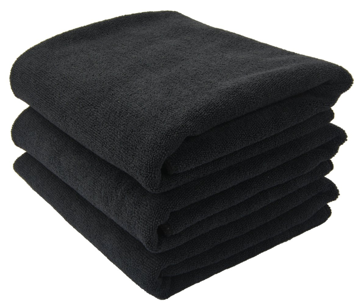 Sinland Microfiber Salon Towels Hair Drying Towels Black 16Inch x 27Inch 6-Pack