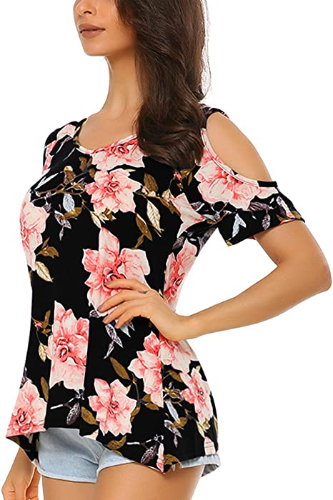 ebf002f6a986c Mixfeer Women s Floral Print Cut Out Shoulder Short Sleeve Tunic Tops T  Shirt Blouse Black. Back. Double-tap to zoom
