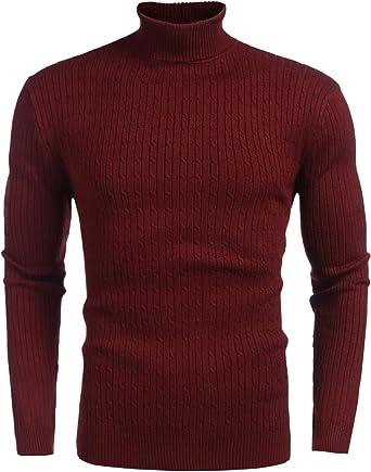 BYWX Men Pullover Cable Knitted Solid Color Turtleneck Slim Jumper Sweater
