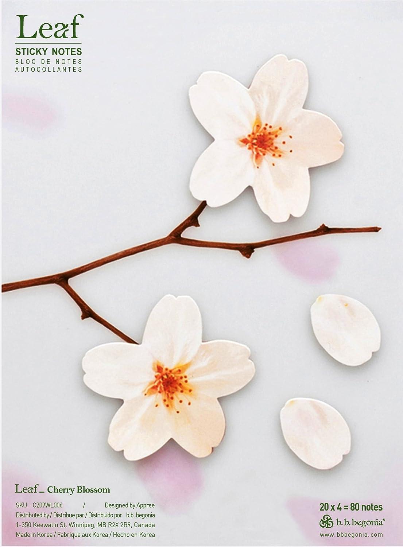 b.b.begonia Leaf_ Cherry Blossom Sticky Notes, White, Large (C209WL006)