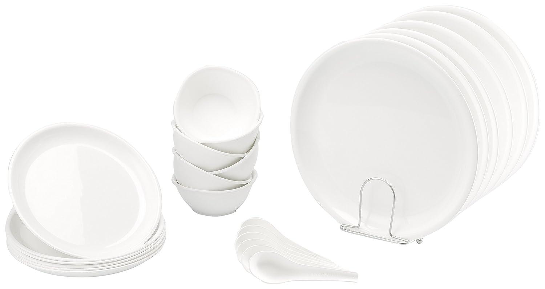 Signoraware Round Dinner Set, 24-Pieces, White
