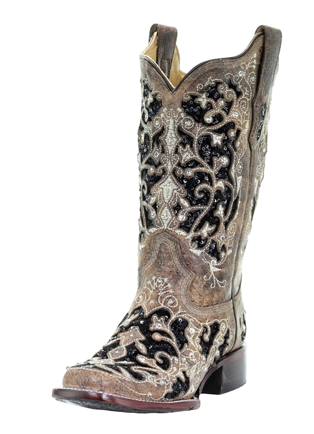 27e6a99170f CORRAL A3648 Floral Embroidered Glitter Inlay and Studs Square Toe Boots