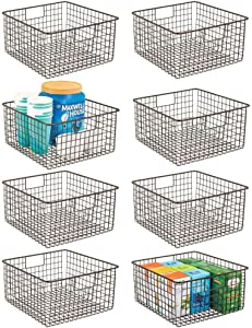 "mDesign Farmhouse Decor Metal Wire Food Storage Organizer, Bin Basket with Handles for Kitchen Cabinets, Pantry, Bathroom, Laundry Room, Closets, Garage, 12"" x 12"" x 6"" - 8 Pack - Bronze"