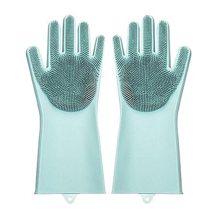 BAMOMBY 2PCS Silikon-Handschuhe mit Wash Scrubber, Magic Food-Grade-Silikon-Reinigungsbürste Scrubber, hitzebeständige Wasser
