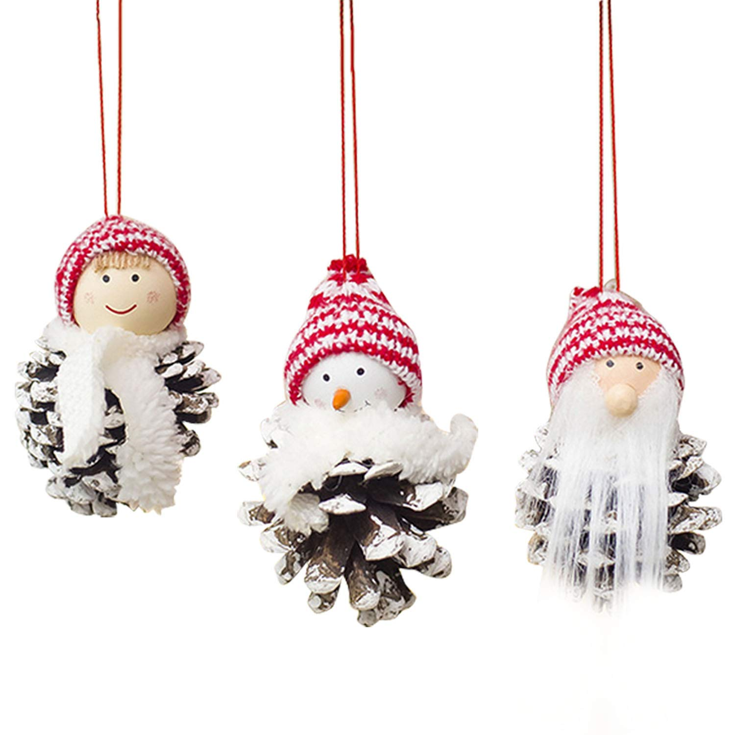 3pcs Small Cute Lovely Christmas Santa Claus Pine Cones Doll Hanging Ornaments Home Xmas Christmas Tree Pendant Decorations Style B Migavan