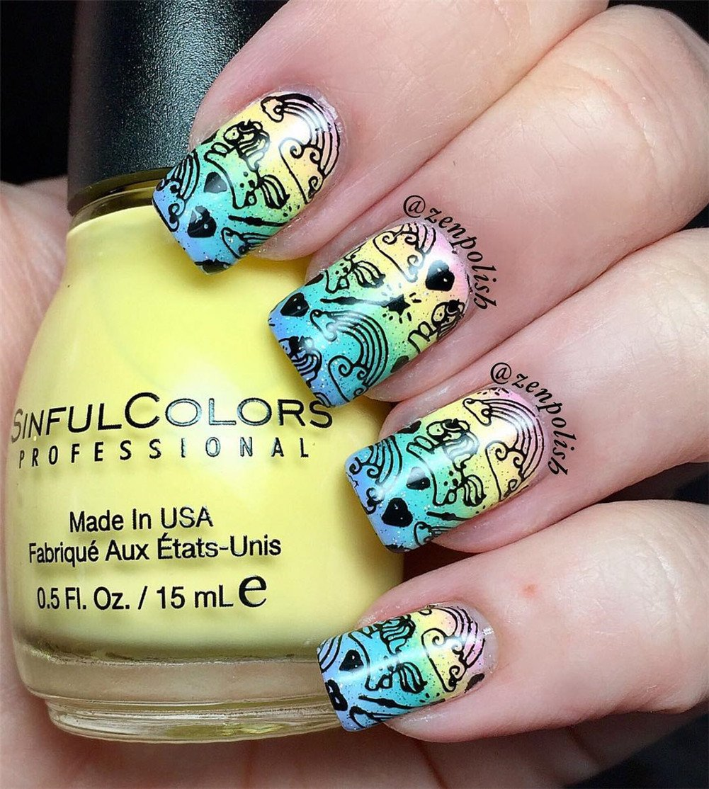 BORN PRETTY 1Pc Rectangle Stamping Plate Unicorn Pattern Manicure Nail Art Plate Harunouta L045 10