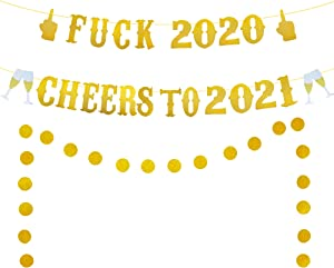 Farewell 2020 Cheers to 2021 Banner, Gold Glittery New Years Eve Party Decorations 2021, New Year Decorations, Happy New Year Banner, New Years Fireplace Mantle Home Decorations, 2021 New Year Banner