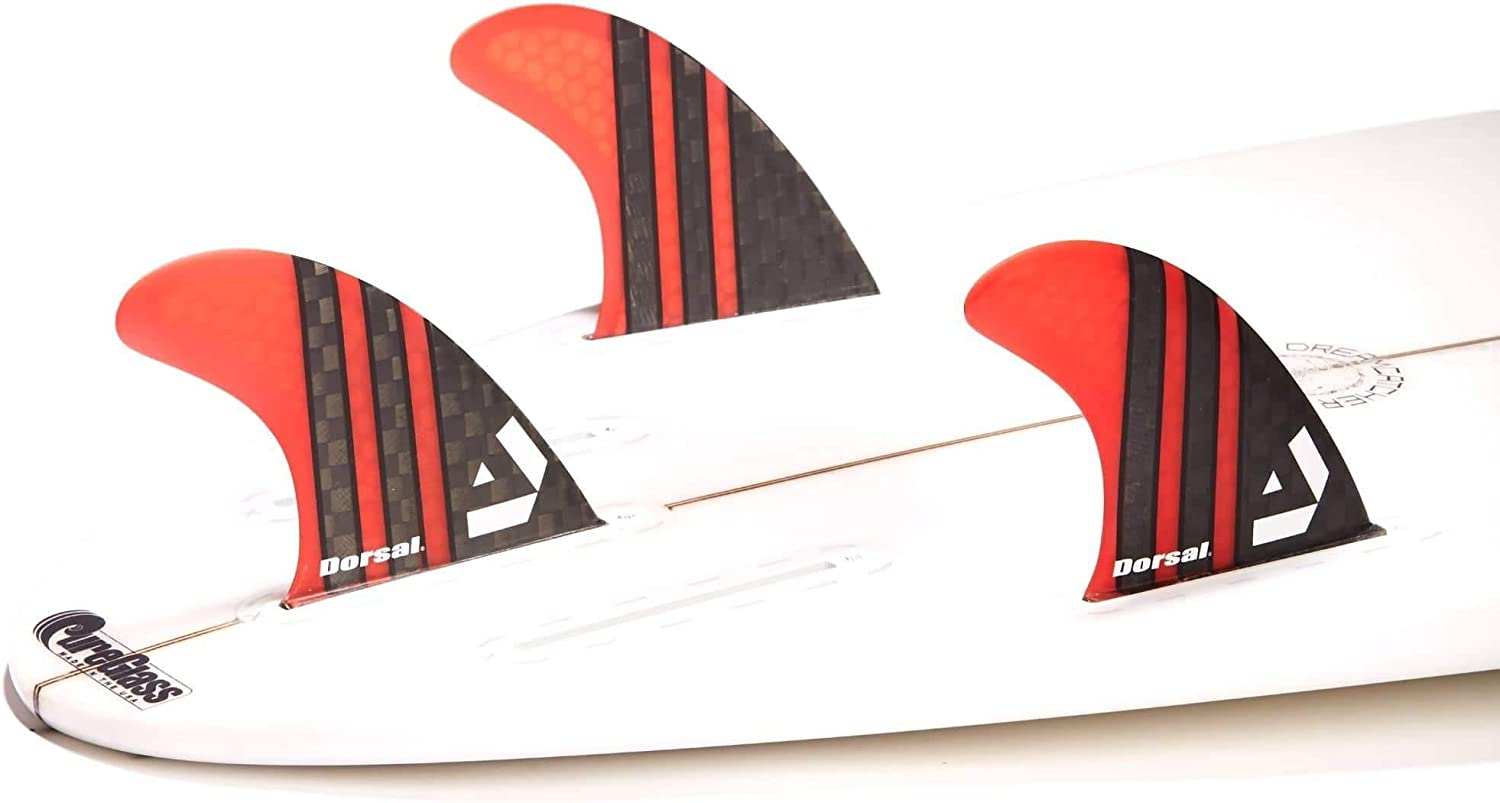 Honeycomb FUT Base Red 3 DORSAL Surfboard Fins Carbon Hexcore Thruster Set