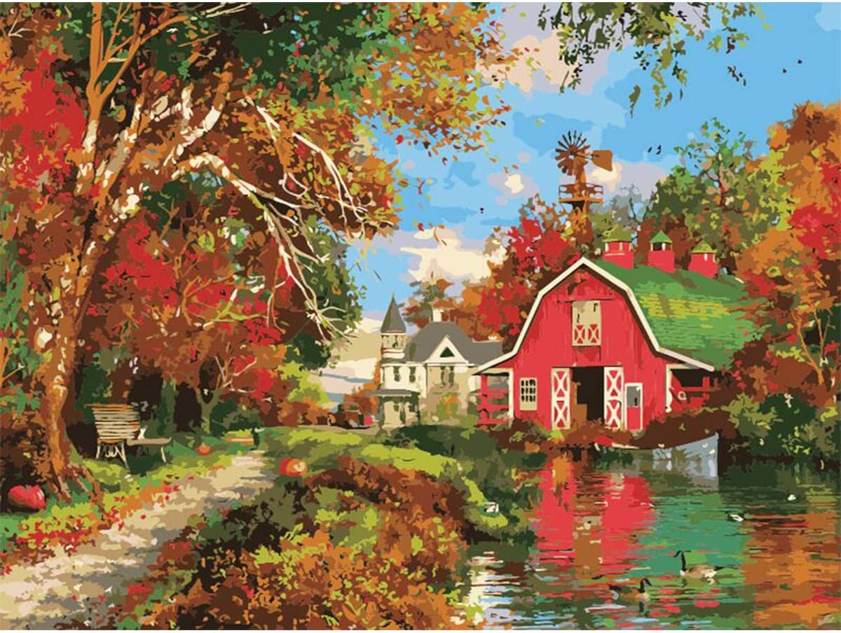 DIY Painting by Numbers Kit for Adults Kids by TOCARE,Traquil Mountain Lake 16x20inch