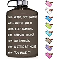 NatureWorks HydroMATE 1 Gallon Motivational Water Bottle with Time Marker Large BPA Free Jug with Handle Reusable Leak Proof Bottle Time Marked to Drink More Water Hydro Mate 128 oz