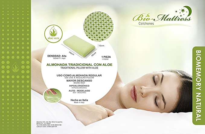Amazon.com: Bio-Mattress Aloe Vera Infused Memory Foam Pillow with Air Cell Technology, Keeps Your Pillow Cool All Night, With Adjustable Fit and Zipper ...