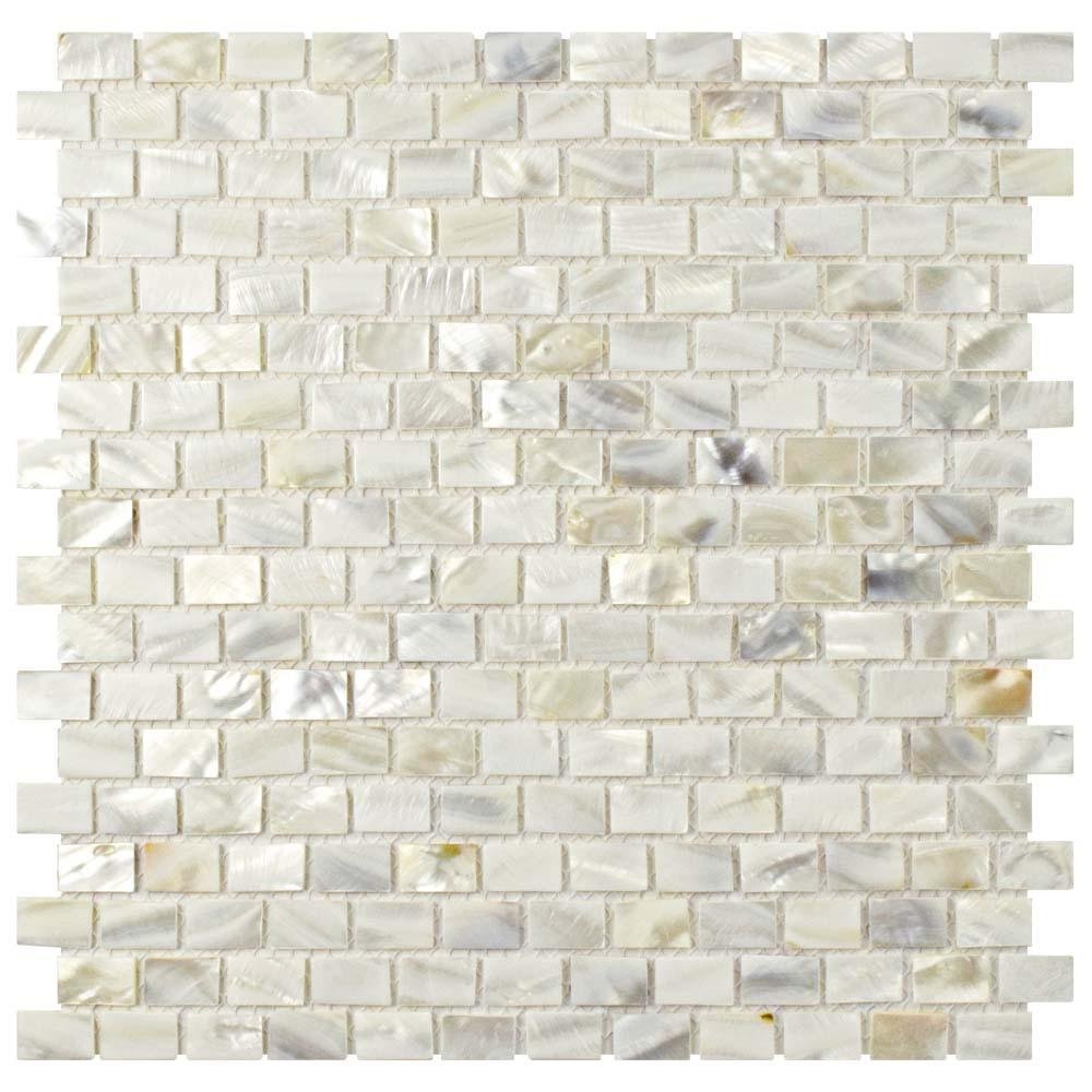 Dazzle Mosaic Mother of Pearl Shell Mosaic Tile for Kitchen Backsplashes / Bathroom Tile, White Subway Mosaic Tiles (6 Pack)