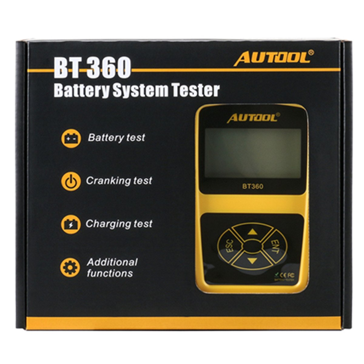 Car 12V Battery Tester Analyzer Autool BT360 CCA 100-2400 for Regular Flooded,Auto Cranking and Charging System Diagnostic Analyzer for Domestic Cars