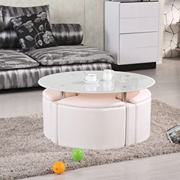Designer White Round Glass Coffee Tea Table And 4 Seater Storage