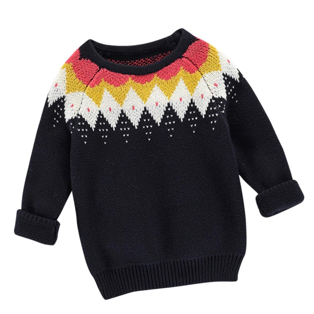 UMFun For 12M-6T Baby Sweater Knit Pullovers Warm Coat Outerwear Clothes (12M-24M, black)