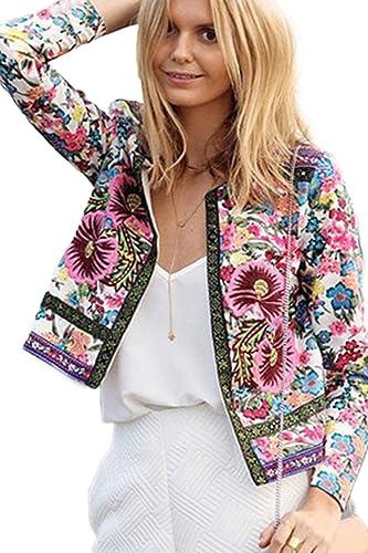 Floral de manga larga chaqueta pequeña capa delgada de las mujeres