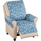 Reversible Floral Scroll Furniture Protector Cover, Blue, Recliner