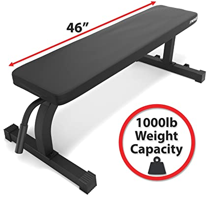 Stupendous Synergee Flat Bench Workout Bench Perfect For Pressing Exercises Weight Bench For Dumbbell Barbell Press Workouts Great For Commercial Garage Andrewgaddart Wooden Chair Designs For Living Room Andrewgaddartcom