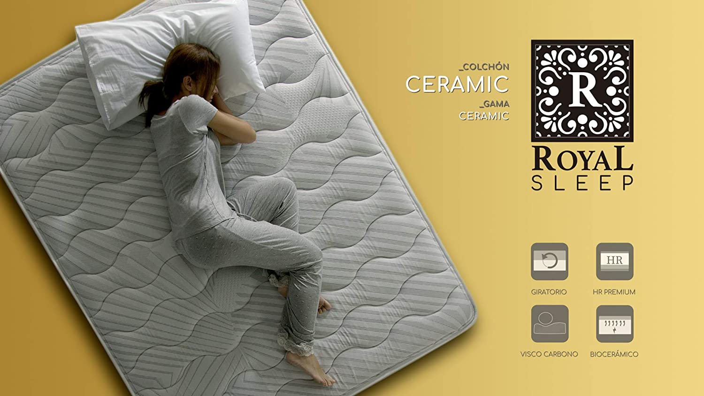 ROYAL SLEEP Colchón viscoelástico Carbono 80x182 firmeza Alta, Gama Alta, Efecto regenerador, Altura 23cm - Colchones Ceramic: Amazon.es: Hogar