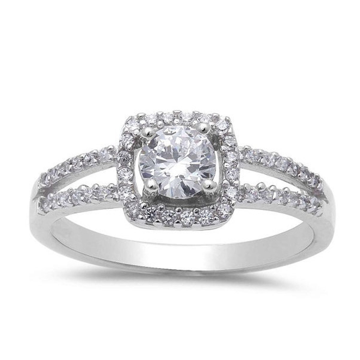 925 Sterling Silver Classic Halo Ring Solitaire Accent Split Shank Round Clear CZ Engagement Ring