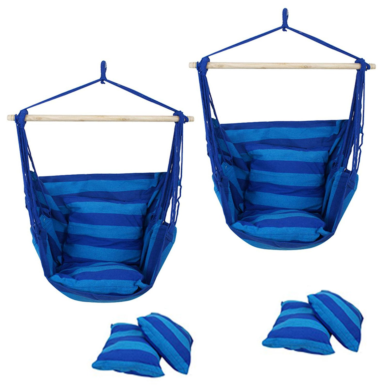 F2C Pack of 2 Cotton Hammock Chair Hanging Rope Chair Swing Chair Seat Porch Sky Swing Patio Chair (2PCS Blue)