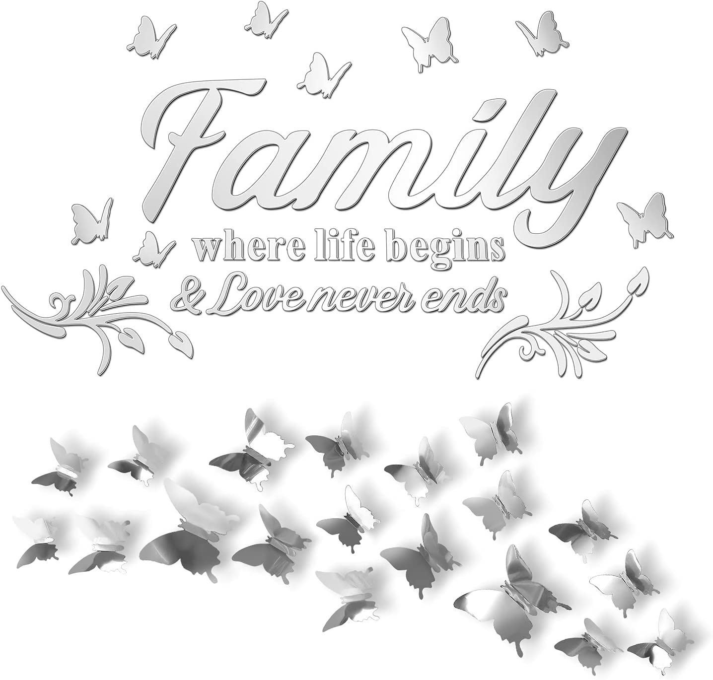 3D Acrylic Mirror Wall Decor Stickers, Silver Family Letters Stickers with Extra 24 Pcs 3D Butterfly Removable Mural Stickers, Wall Art Decals DIY for Home Dorm Living Room Mirror Wall Decoration