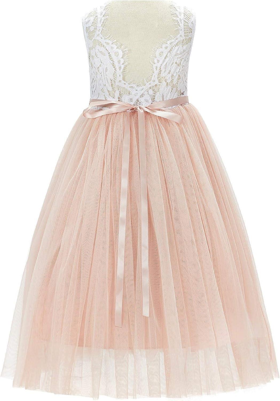 ekidsbridal Floral Lace Heart Cutout White Flower Girl Dresses Holy Communion Dress Baptism Dresses 172T