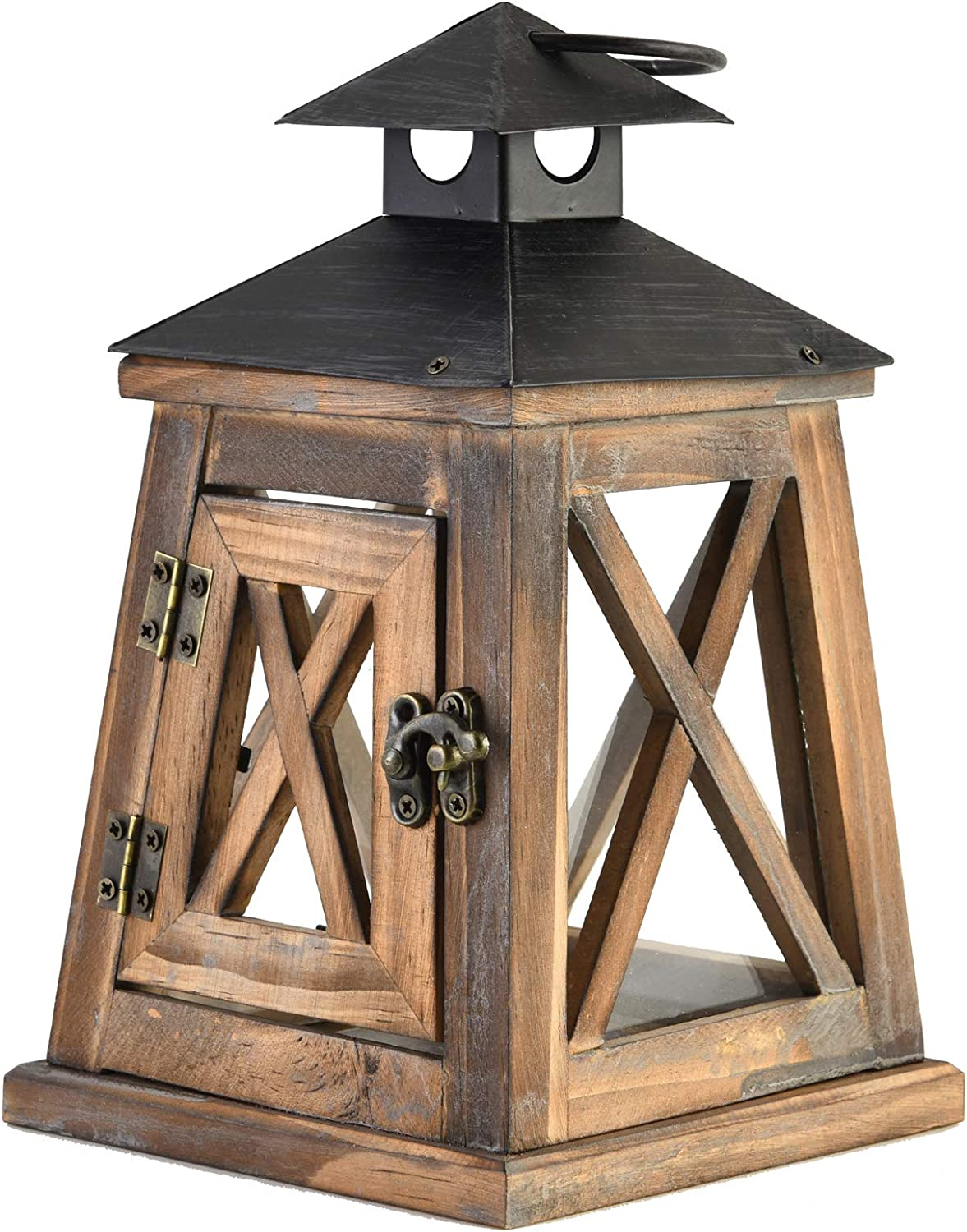 SUJUN Decorative Rustic Wooden Candle Lantern with Handle, Small, Brown, Perfectly for Wedding, Party, Home Décor
