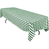 LinenTablecloth 60 x 126-Inch Rectangular Polyester Tablecloth Green & White Checker