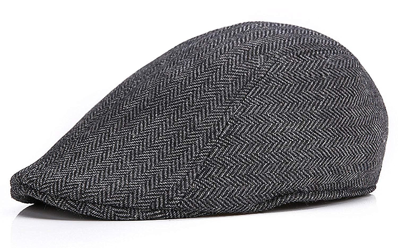 daf35a6c1c7df Amazon.com  Men s Herringbone Wool Tweed Newsboy Ivy Cabbie Driving Hat  Grey  Jewelry
