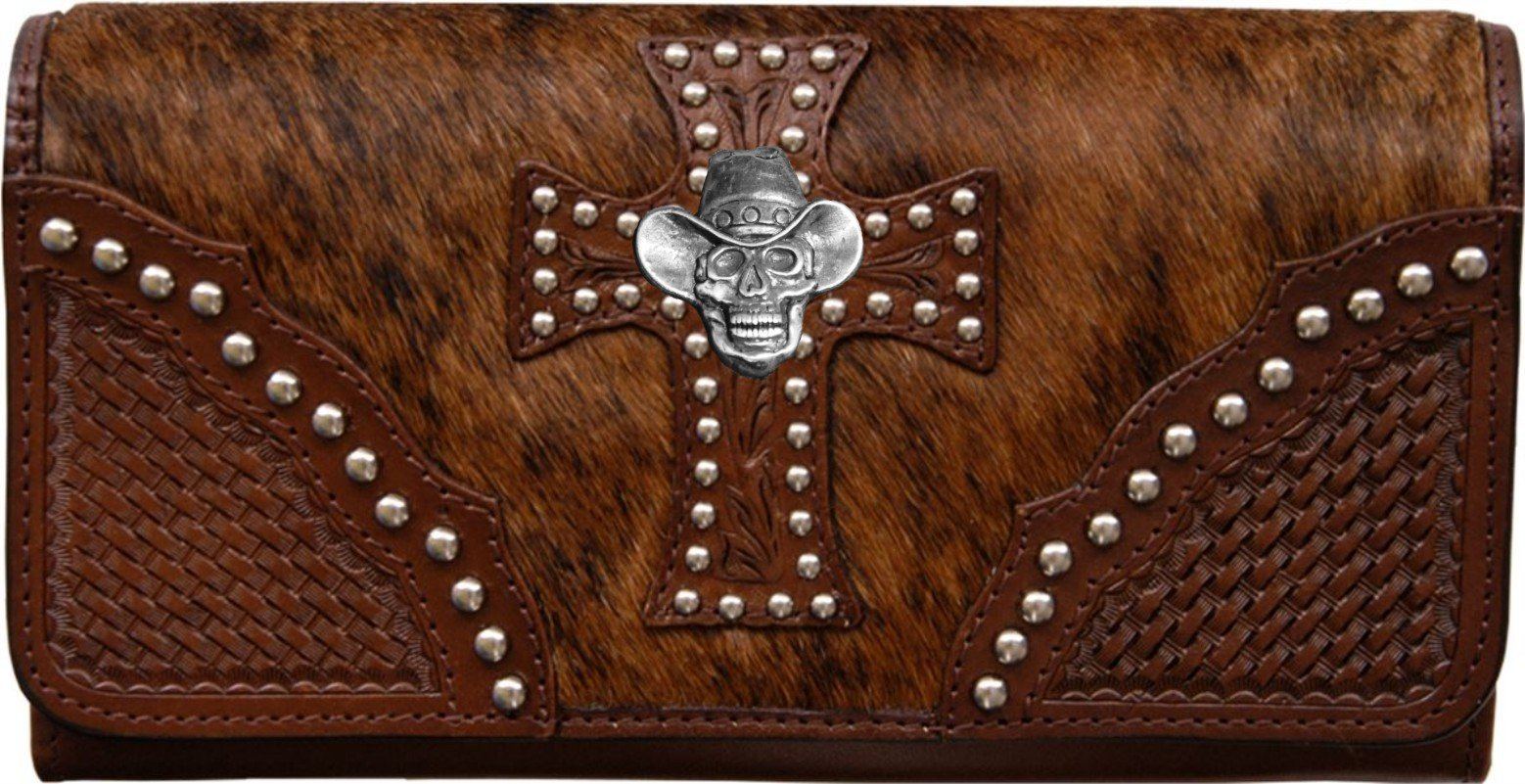 Custom Cowboy Skull Natural Hair Christian Clutch Wallet with removable checkbook