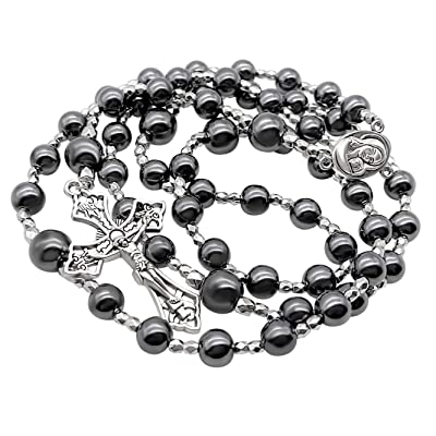 black hematite stone necklace with black hematite stone cross