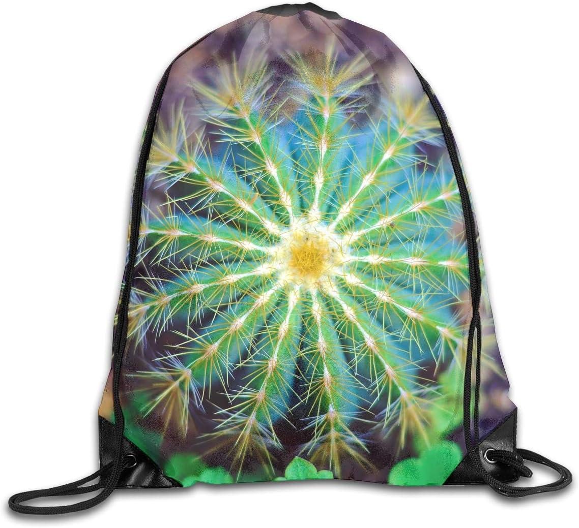 CoolStuff Travel Shoe Bags,Watercolour Cactus Drawstring Backpack Hiking Climbing Gym Bag,Large Big Durable Reusable Polyester Footwear Protection