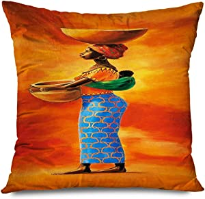 CHARLLR Throw Pillow Cover 18x18 Inch Tribal Black Woman African American Girls Ethnic Ancient Carrying Children Utensils Orange Decorative Pillowcase for Sofa Couch Bedroom Living Room
