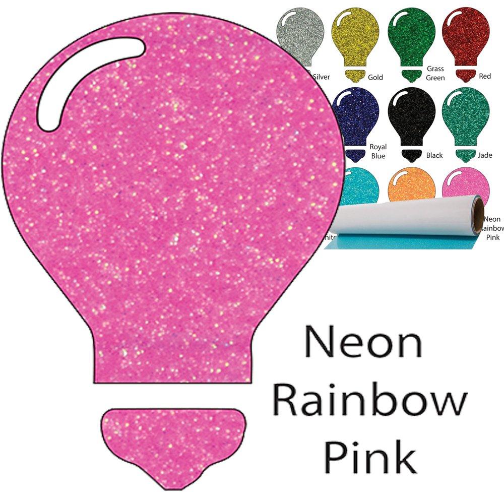 Color Theory Glitter Heat Transfer Vinyl 10'' x 5yd - Neon Rainbow Pink