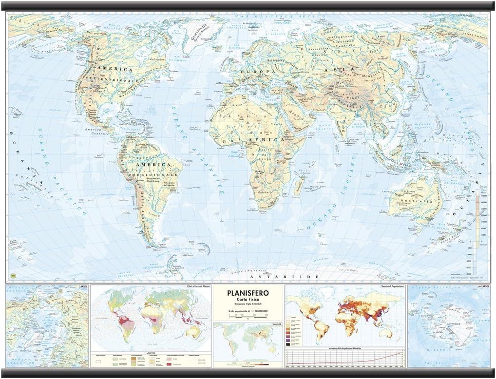 Cartina Geografica Del Mondo Fisica.Carta Geografica Mondo Fisico Politica Amazon It Cancelleria E Prodotti Per Ufficio