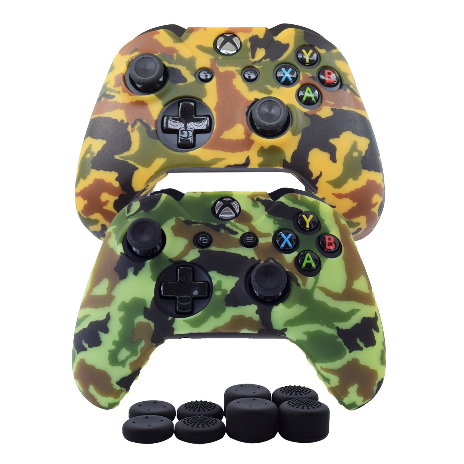Hikfly Silicone Gel Controller Cover Skin Protector Kits for Xbox One Controller Video Games(2x Controller Camouflage cover with 8 x Thumb Grip Caps)(Yellow,Light Green)