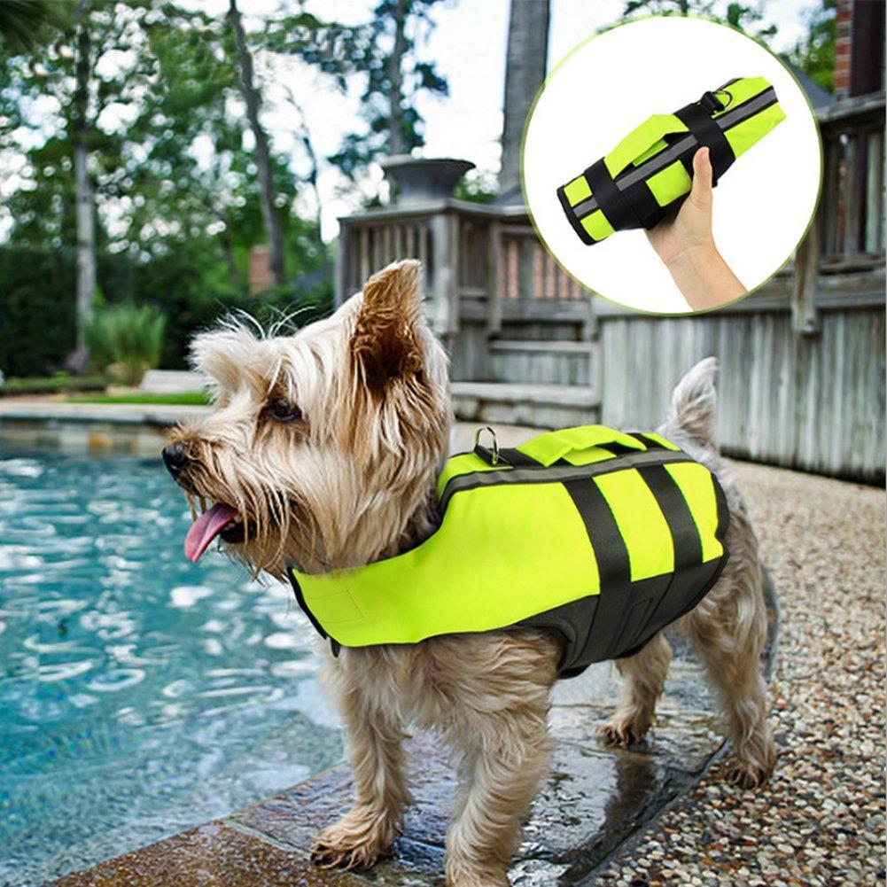 Petvins Dog Life Jacket Inflatable Pet Life Preserver Adjustable Air Sac Swiming Coat Safety Vest Fluorescent Green Medium