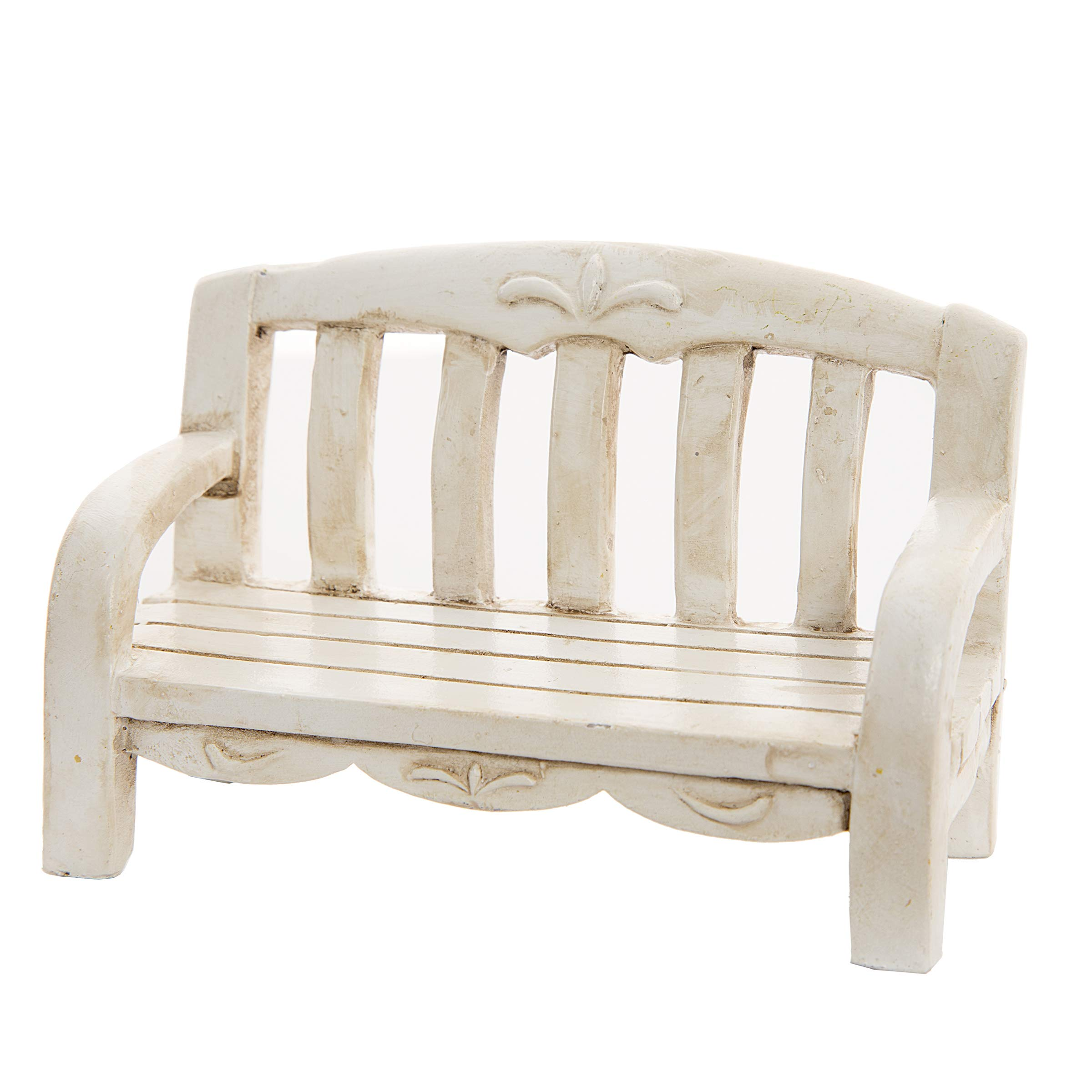 Ivory Fairy Garden Bench with Carvings (3 Pack)