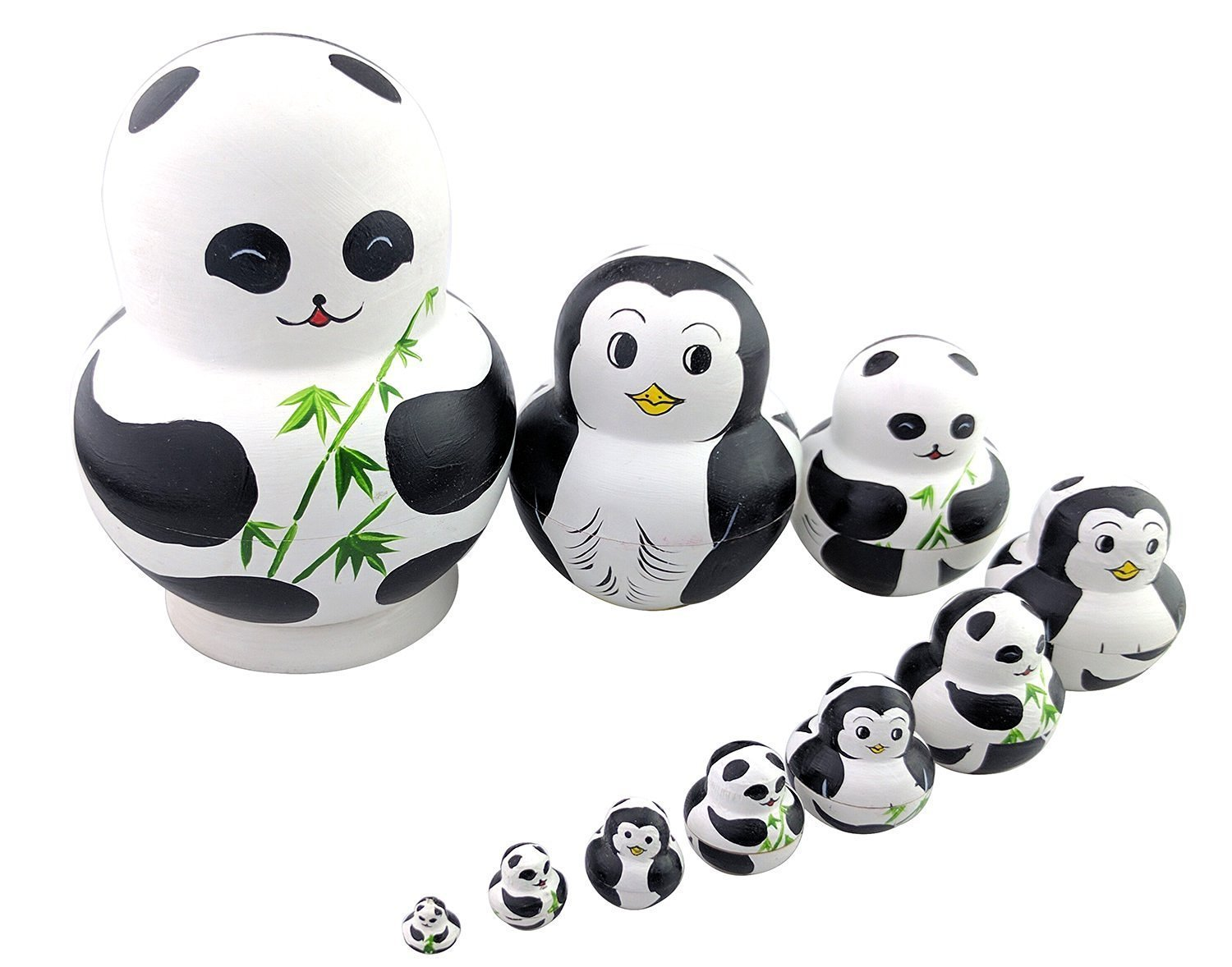 Set of 10 Panda & Penguin Double-faced Pattern Chubby Stacking Toy Russian Doll Handmade Wooden Toy for Kids Nursery Room Decor Winterworm