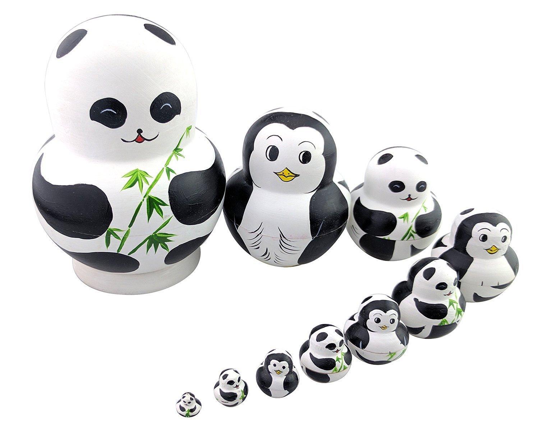 Set di 10 panda & Penguin double-face modello Chubby da impilare russo bambola giocattolo fatto a mano in legno per bambini nursery Room Decor Winterworm