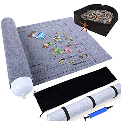 "Jigsaw Puzzle Roll Up Mat for Jigsaw Puzzles Saver and Storage Store and Transport Puzzle Blanket for Up to 1500 Pieces 46"" x 26"" Play Mat Puzzles Travel Storage Bag, Gray: Toys & Games"