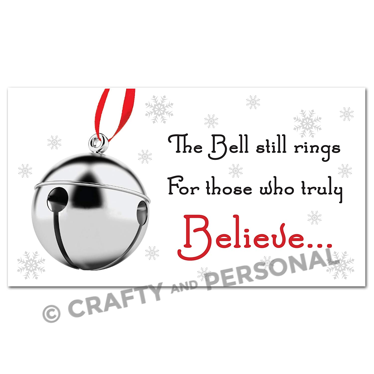 Polar Express Believe Bell Tags Labels for Funny Christmas