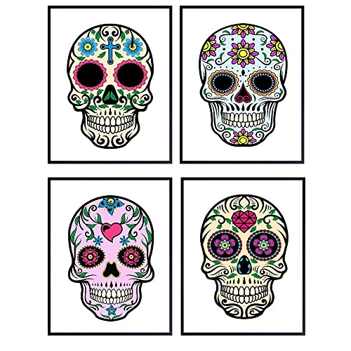 Amazon.com: Mexican Gothic Sugar Skull Wall Art Print Decor- Set Of Four  8x10 Unframed Photos - Great Home Decor Gift - Day Of The Dead: Handmade