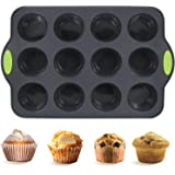 Non-Stick Silicone Muffin Pan with Reinforced Stainless Steel Frame Inside, Cadeya 12 Cup Regular Muffin Baking Mold…