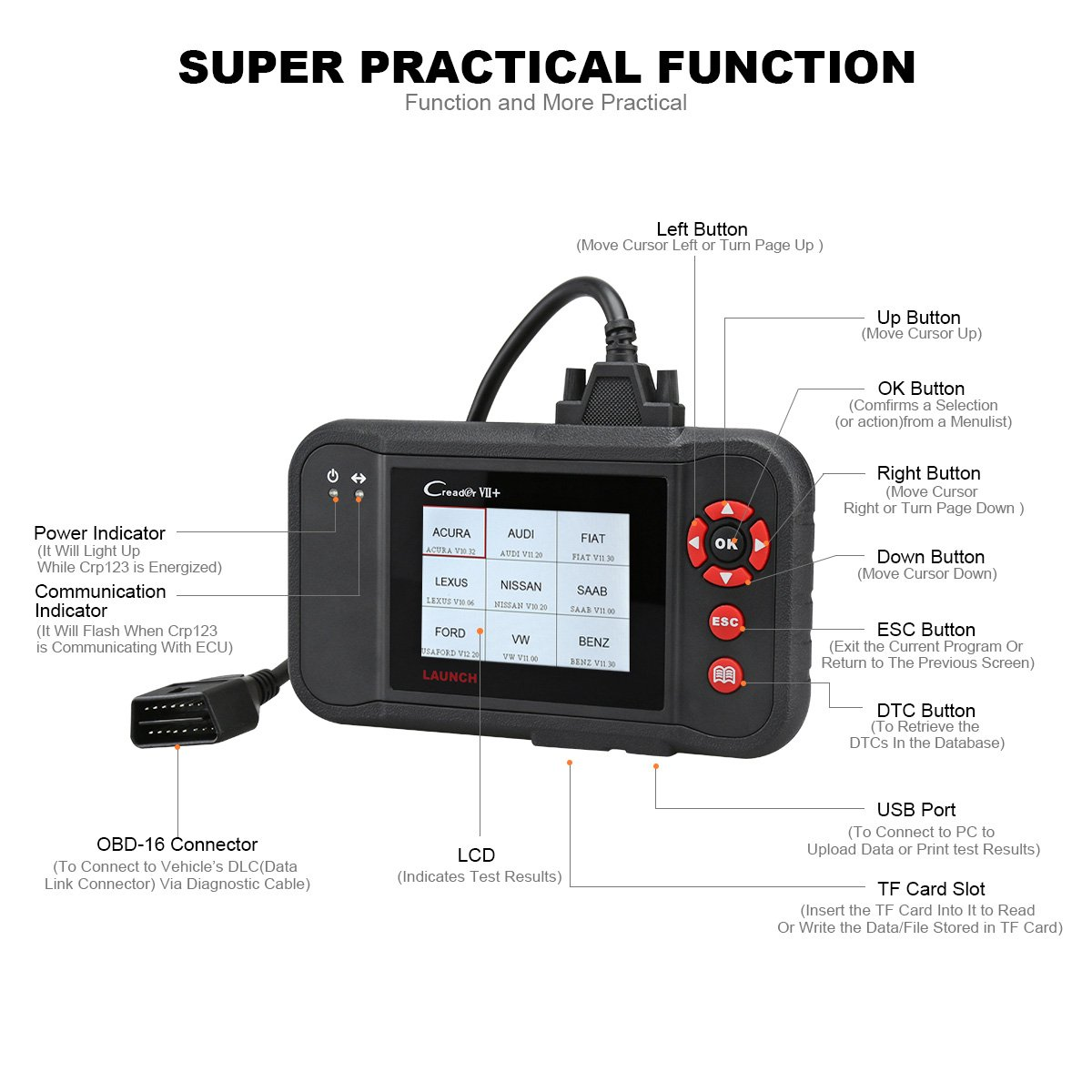 LAUNCH Black Creader VII+ OBD2 Scanner ABS SRS Transmission and Engine Code Reader Diagnostic Scan TPMS Activation Tool Gift by LAUNCH (Image #2)