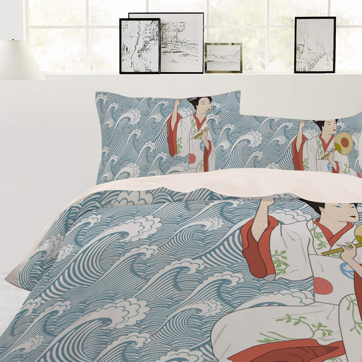 Japanese Style Kimono Girl Comforter Cover Bedspread Daybed for Adults/Kids/Childrens/Teens Duvet Covers NewThangKa 3 Piece Bedding Set Duvet Cover Set with Zipper Closure King Size